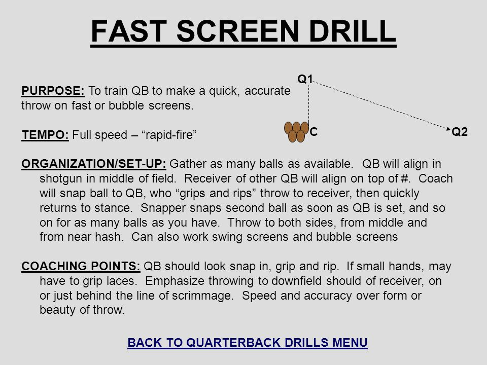 "FAST SCREEN DRILL PURPOSE: To train QB to make a quick, accurate throw on fast or bubble screens. TEMPO: Full speed – ""rapid-fire"" ORGANIZATION/SET-UP"