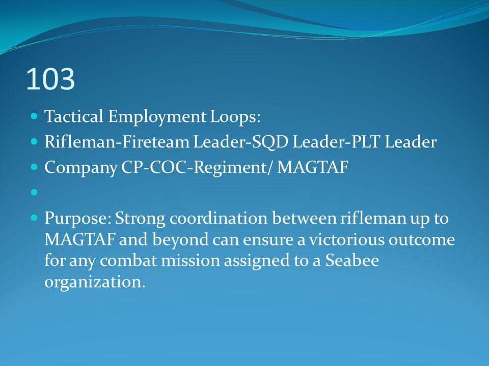 103 Tactical Employment Loops: Rifleman-Fireteam Leader-SQD Leader-PLT Leader Company CP-COC-Regiment/ MAGTAF Purpose: Strong coordination between rif