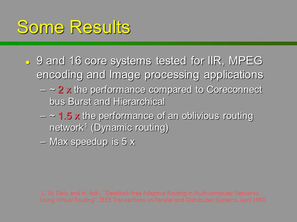 Some Results l 9 and 16 core systems tested for IIR, MPEG encoding and Image processing applications –~ 2 x the performance compared to Coreconnect bu