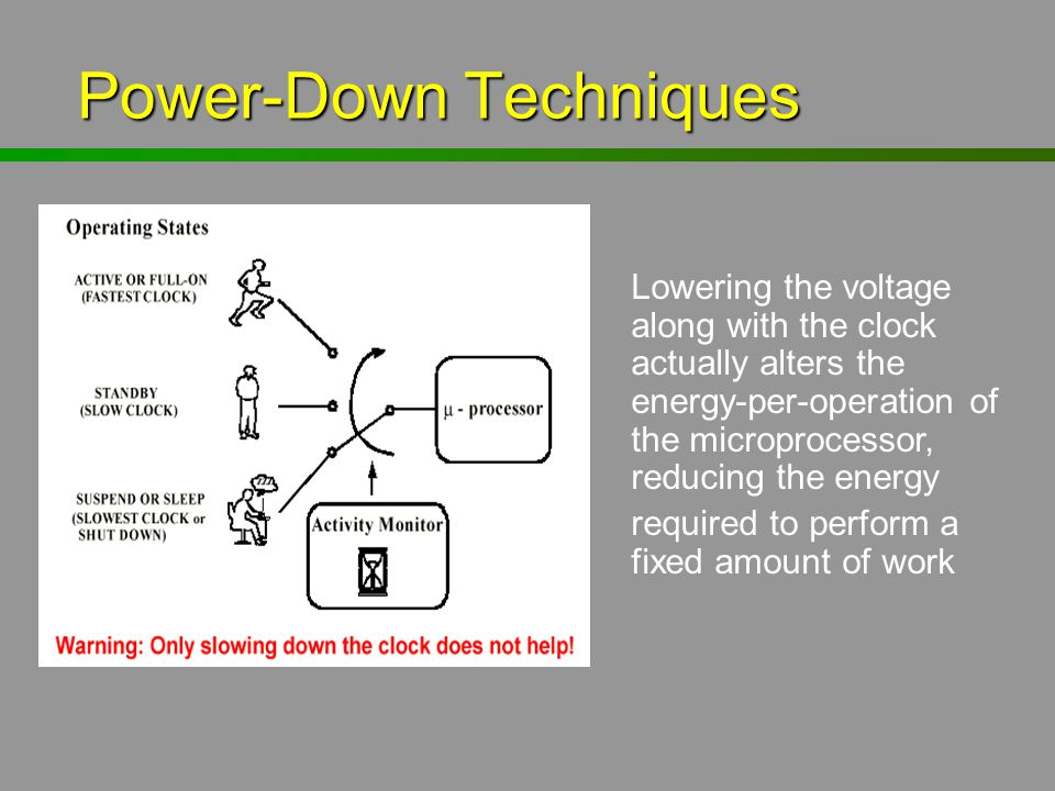 Power-Down Techniques Power-Down Techniques Lowering the voltage along with the clock actually alters the energy-per-operation of the microprocessor,