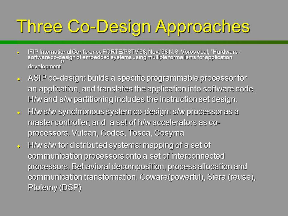 "Three Co-Design Approaches l IFIP International Conference FORTE/PSTV'98, Nov.'98 N.S. Voros et.al, ""Hardware - software co-design of embedded systems"