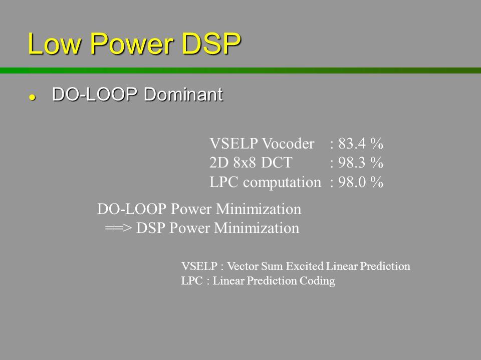 Low Power DSP l DO-LOOP Dominant VSELP Vocoder: 83.4 % 2D 8x8 DCT: 98.3 % LPC computation: 98.0 % DO-LOOP Power Minimization ==> DSP Power Minimizatio