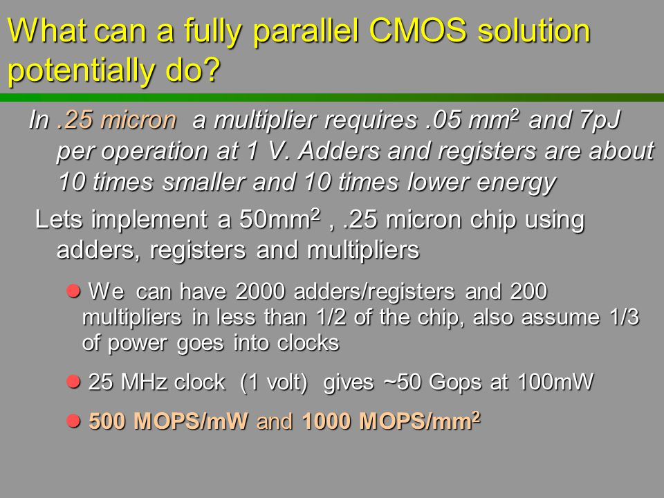 What can a fully parallel CMOS solution potentially do? In.25 micron a multiplier requires.05 mm 2 and 7pJ per operation at 1 V. Adders and registers