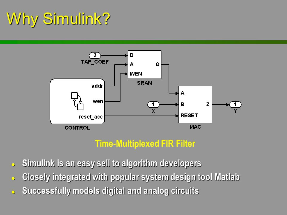 Why Simulink? l Simulink is an easy sell to algorithm developers l Closely integrated with popular system design tool Matlab l Successfully models dig