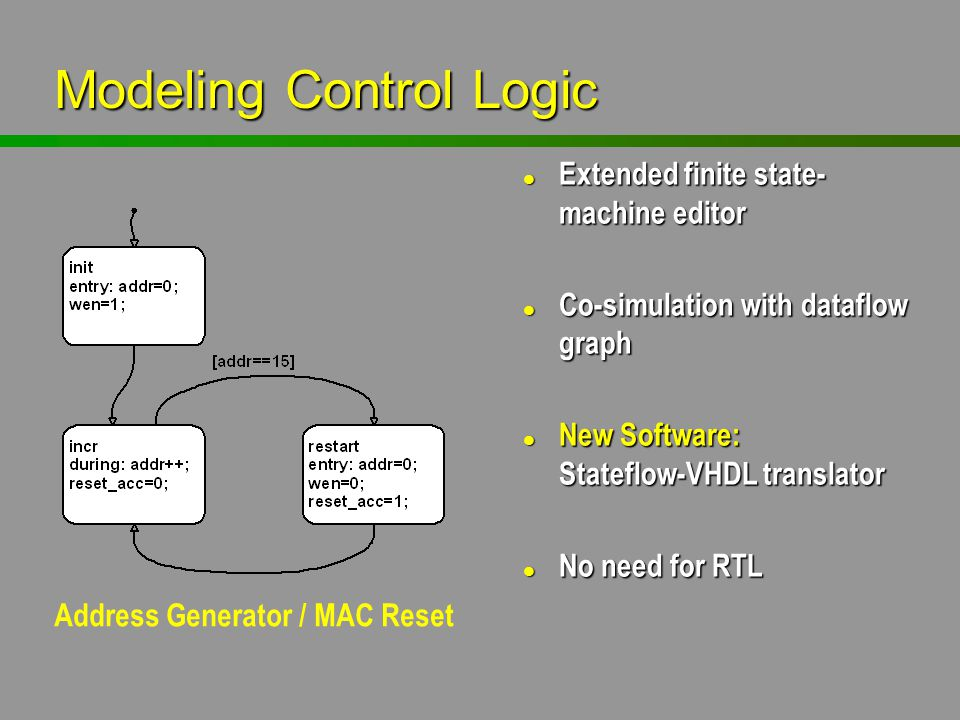 l Extended finite state- machine editor l Co-simulation with dataflow graph l New Software: Stateflow-VHDL translator l No need for RTL Modeling Contr