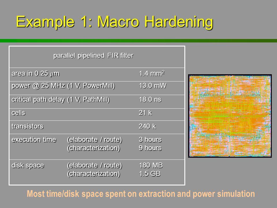 180 MB 1.5 GB disk space(elaborate / route) (characterization) 3 hours 9 hours execution time(elaborate / route) (characterization) 240 k transistors