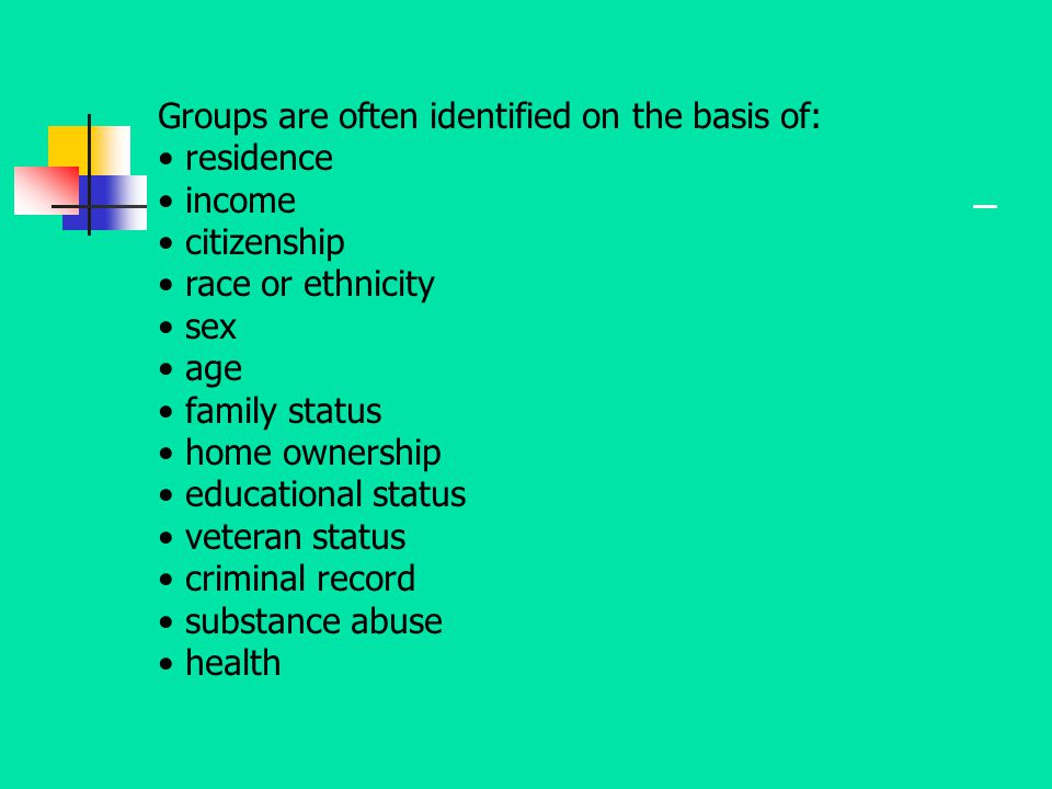 Groups are often identified on the basis of: residence income citizenship race or ethnicity sex age family status home ownership educational status ve