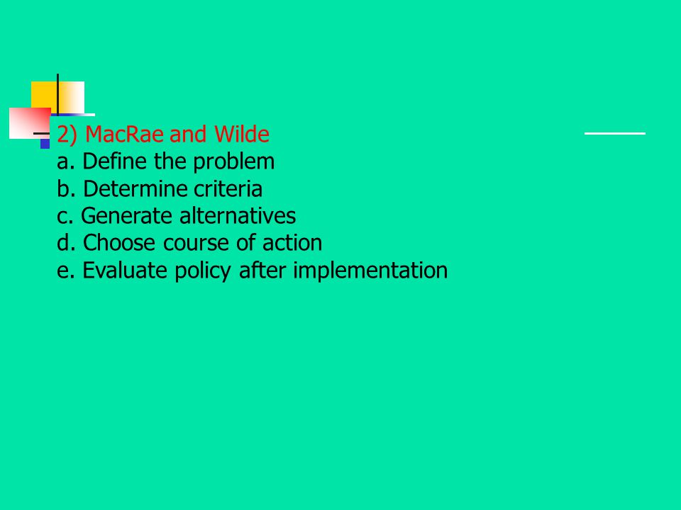 2) MacRae and Wilde a. Define the problem b. Determine criteria c. Generate alternatives d. Choose course of action e. Evaluate policy after implement