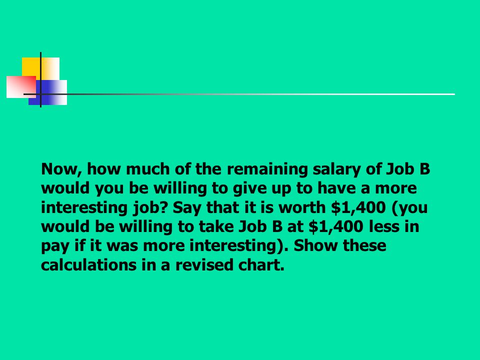 Now, how much of the remaining salary of Job B would you be willing to give up to have a more interesting job? Say that it is worth $1,400 (you would