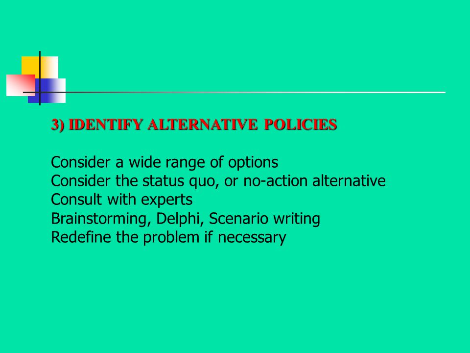 3) IDENTIFY ALTERNATIVE POLICIES Consider a wide range of options Consider the status quo, or no-action alternative Consult with experts Brainstorming