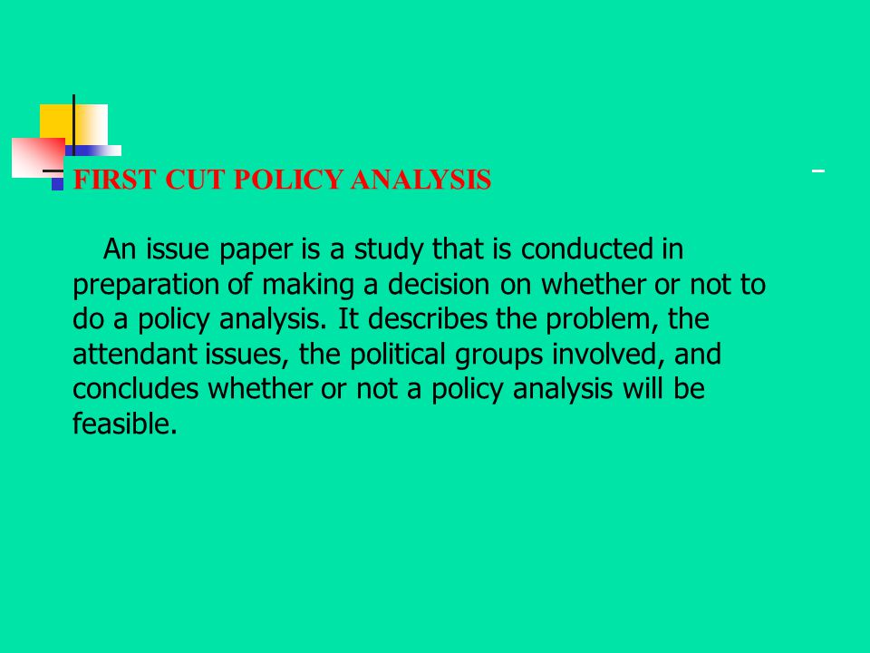 FIRST CUT POLICY ANALYSIS An issue paper is a study that is conducted in preparation of making a decision on whether or not to do a policy analysis. I