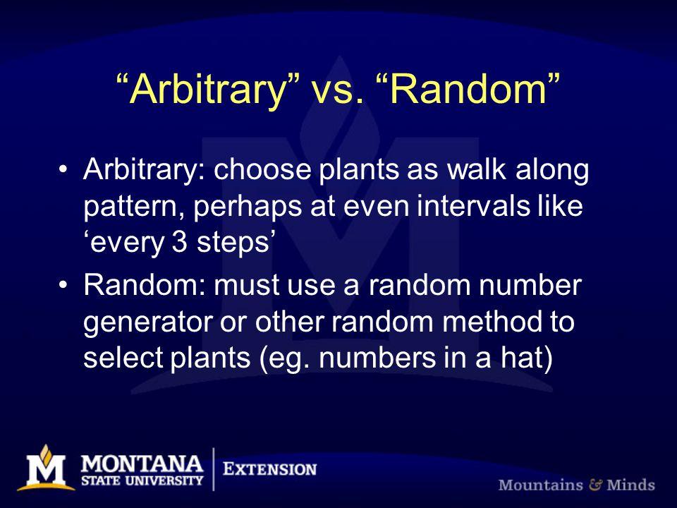 """Arbitrary"" vs. ""Random"" Arbitrary: choose plants as walk along pattern, perhaps at even intervals like 'every 3 steps' Random: must use a random numb"