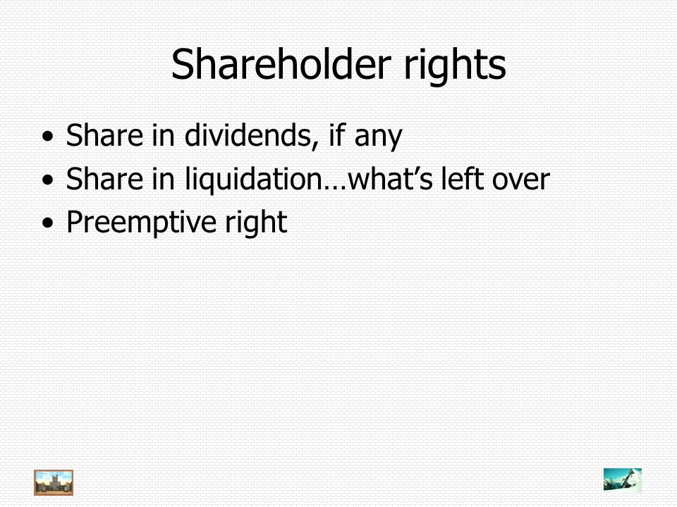 Shareholder rights Share in dividends, if any Share in liquidation…what's left over Preemptive right