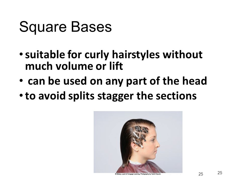 Square Bases suitable for curly hairstyles without much volume or lift can be used on any part of the head to avoid splits stagger the sections 25