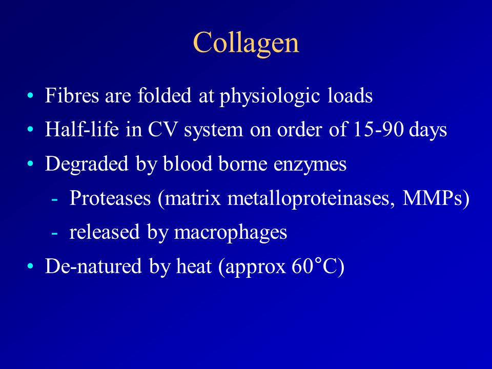 Fibres are folded at physiologic loads Half-life in CV system on order of 15-90 days Degraded by blood borne enzymes -Proteases (matrix metalloproteinases, MMPs) -released by macrophages De-natured by heat (approx 60°C) Collagen