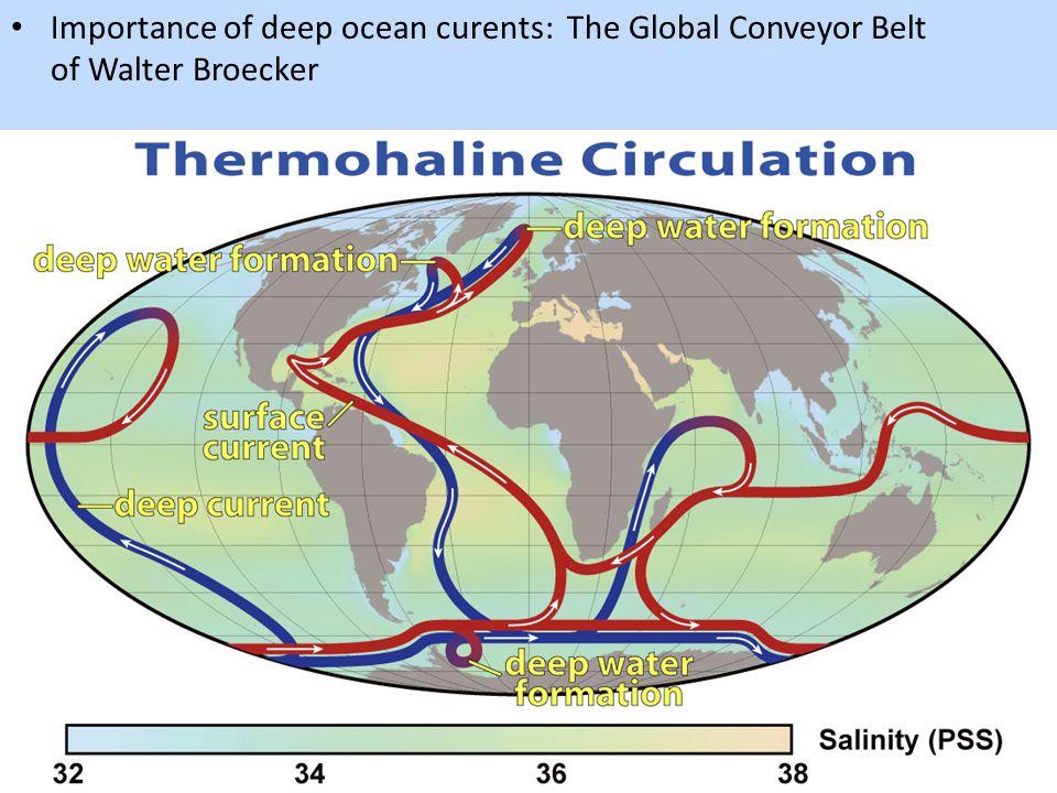 Importance of deep ocean curents: The Global Conveyor Belt of Walter Broecker