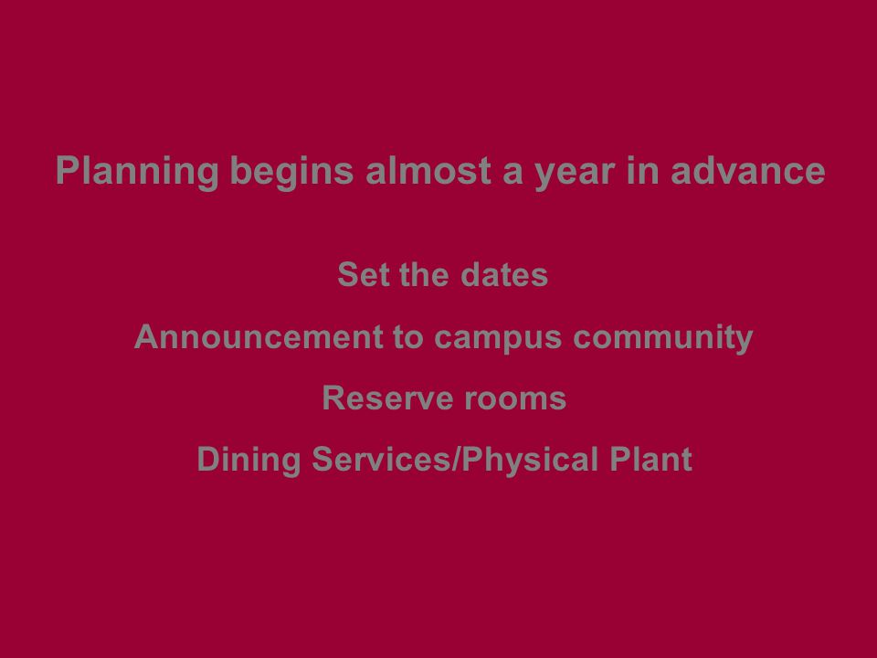 Planning begins almost a year in advance Set the dates Announcement to campus community Reserve rooms Dining Services/Physical Plant