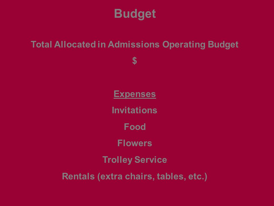 Budget Total Allocated in Admissions Operating Budget $ Expenses Invitations Food Flowers Trolley Service Rentals (extra chairs, tables, etc.)