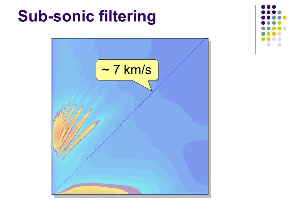 Sub-sonic filtering ~ 7 km/s