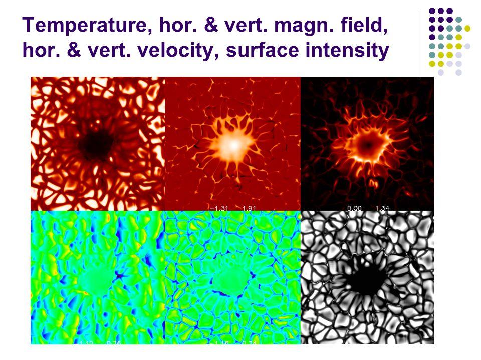 Temperature, hor. & vert. magn. field, hor. & vert. velocity, surface intensity