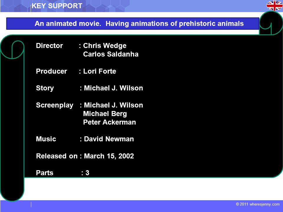 © 2011 wheresjenny.com Director : Chris Wedge Carlos Saldanha Producer : Lori Forte Story : Michael J.