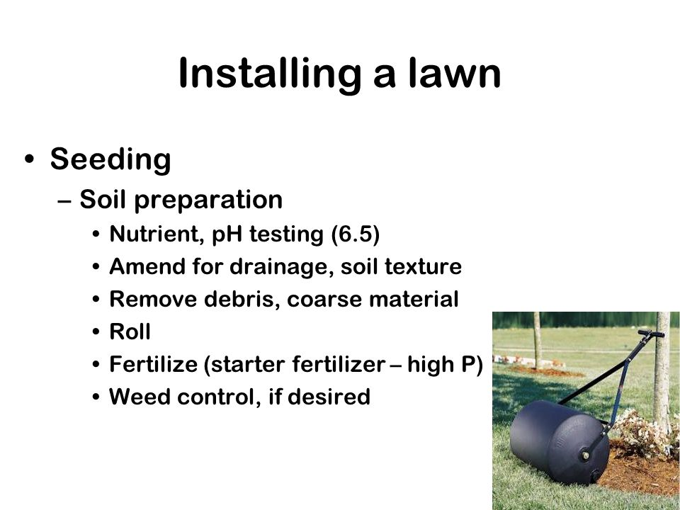 Installing a lawn Seeding –Soil preparation Nutrient, pH testing (6.5) Amend for drainage, soil texture Remove debris, coarse material Roll Fertilize (starter fertilizer – high P) Weed control, if desired