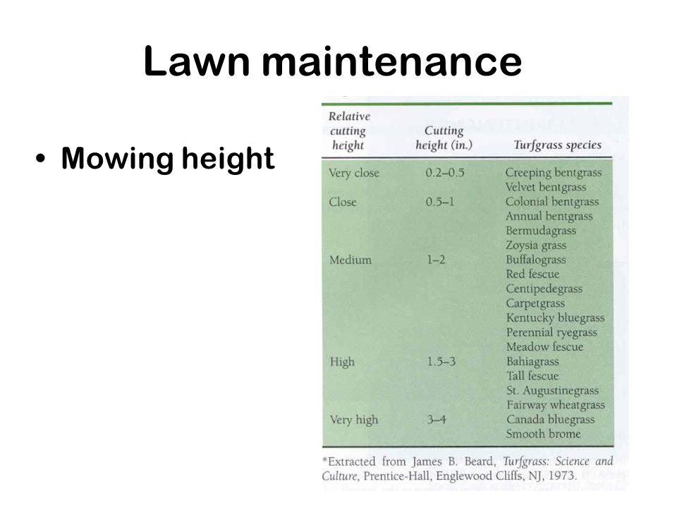 Lawn maintenance Mowing height