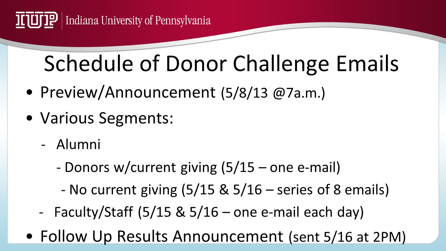 Schedule of Donor Challenge Emails Preview/Announcement (5/8/13 @7a.m.) Various Segments: - Alumni - Donors w/current giving (5/15 – one e-mail) - No