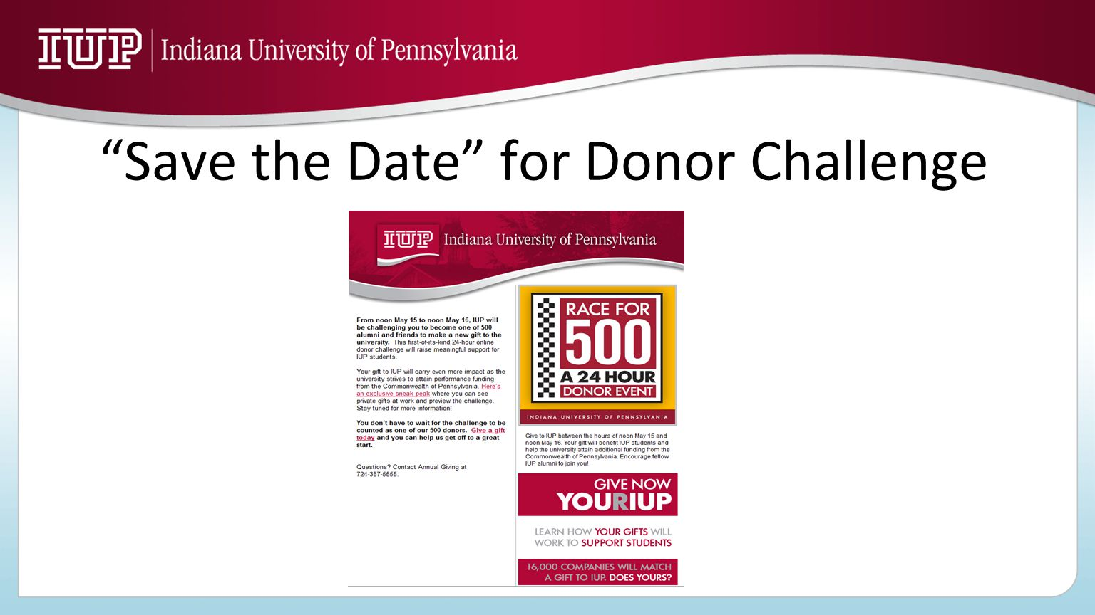 """Save the Date"" for Donor Challenge"