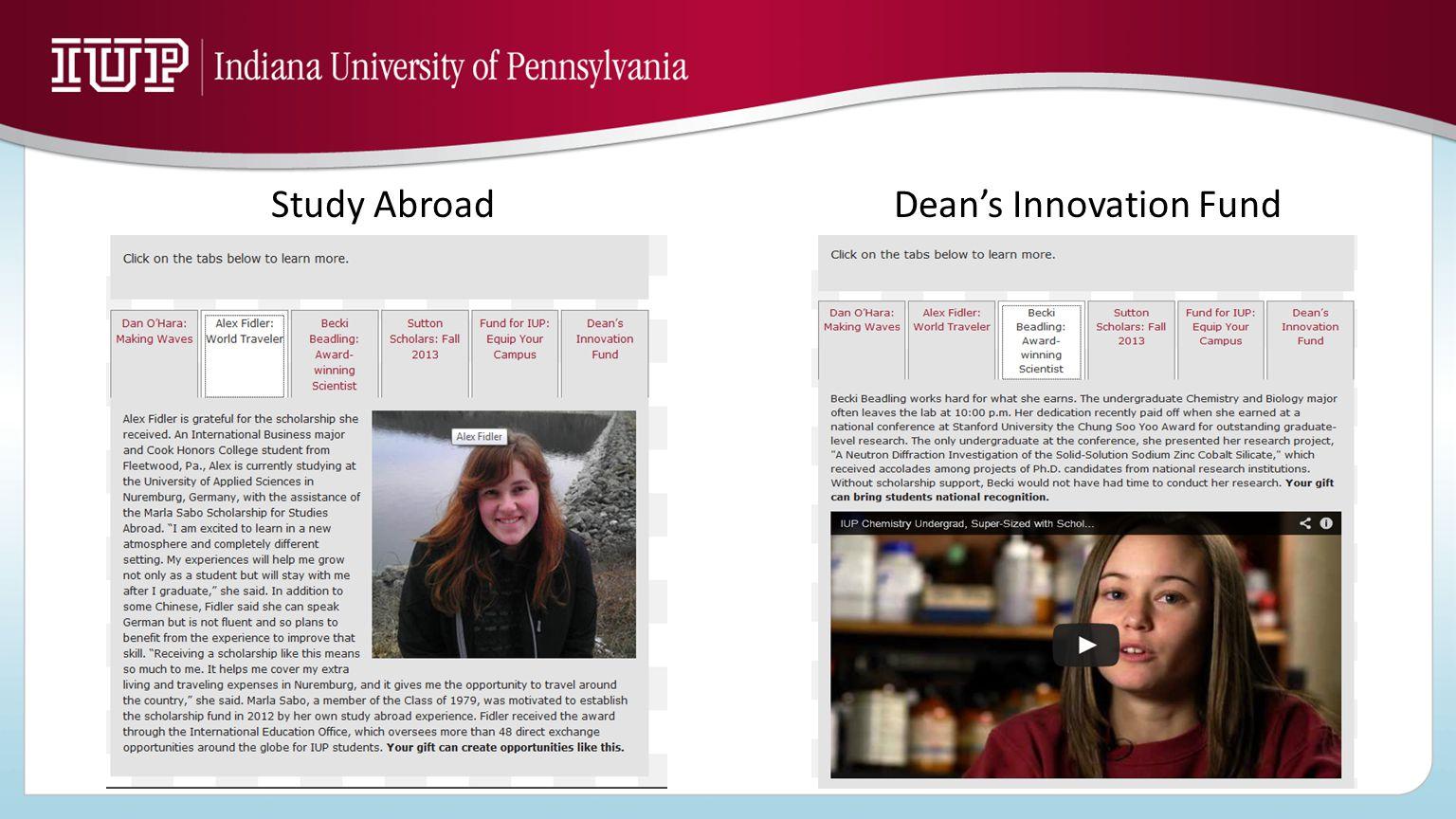 Study AbroadDean's Innovation Fund