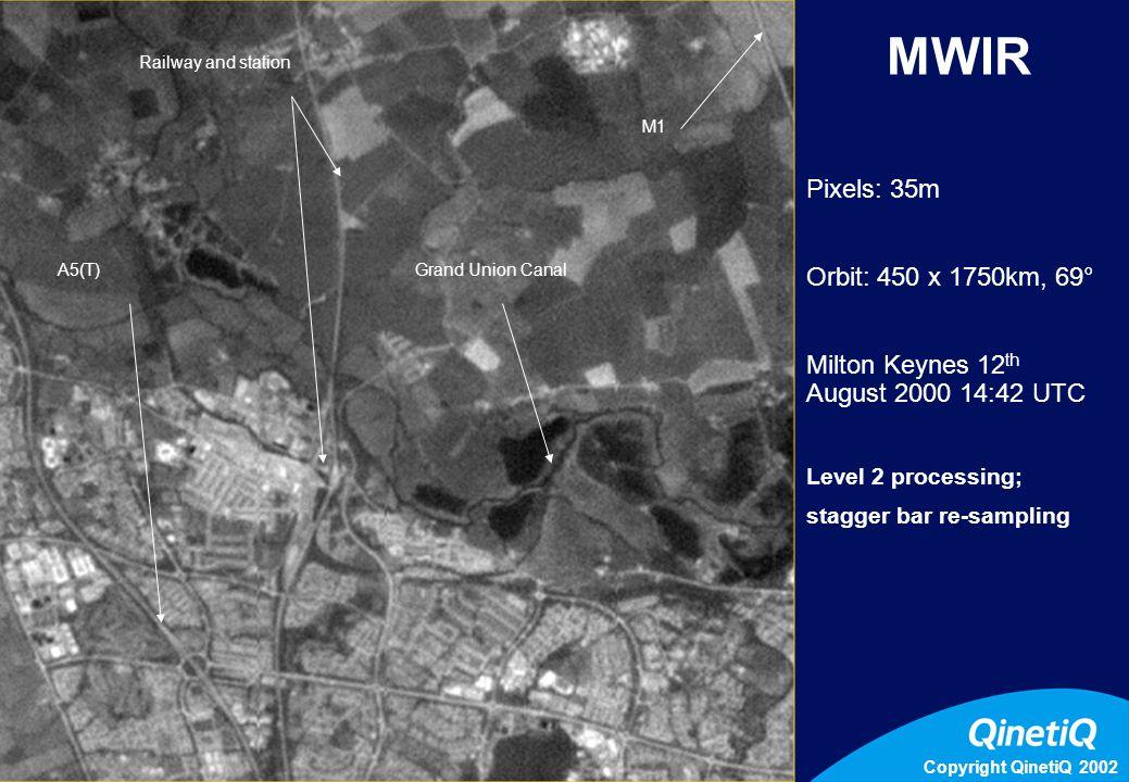 Copyright QinetiQ 2002 3 Dead Pixels M1 Railway and station A5(T)Grand Union Canal MWIR Pixels: 35m Orbit: 450 x 1750km, 69° Milton Keynes 12 th August 2000 14:42 UTC Level 2 processing; stagger bar re-sampling