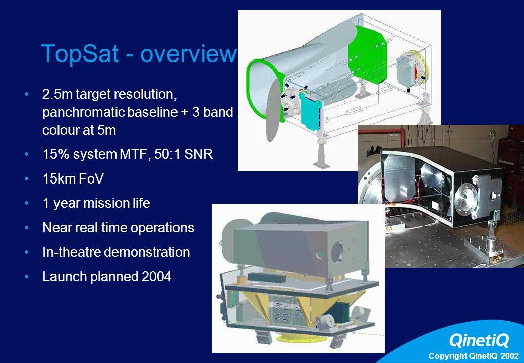 Copyright QinetiQ 2002 5 TopSat - overview 2.5m target resolution, panchromatic baseline + 3 band colour at 5m 15% system MTF, 50:1 SNR 15km FoV 1 yea
