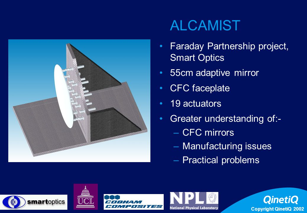 Copyright QinetiQ 2002 9 ALCAMIST Faraday Partnership project, Smart Optics 55cm adaptive mirror CFC faceplate 19 actuators Greater understanding of:- –CFC mirrors –Manufacturing issues –Practical problems
