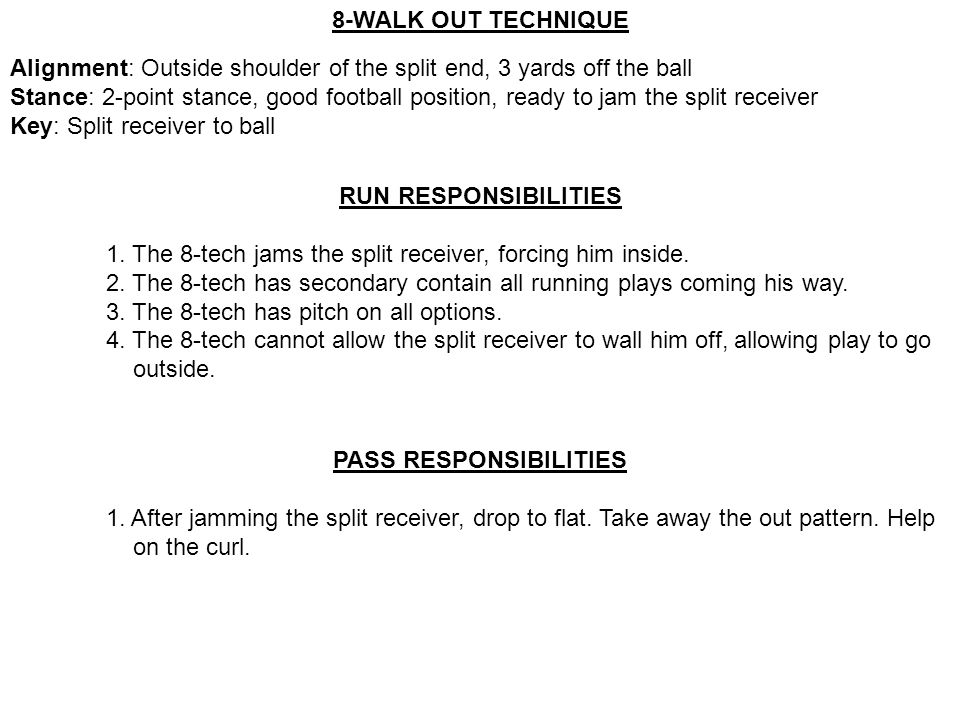 8-WALK OUT TECHNIQUE Alignment: Outside shoulder of the split end, 3 yards off the ball Stance: 2-point stance, good football position, ready to jam t