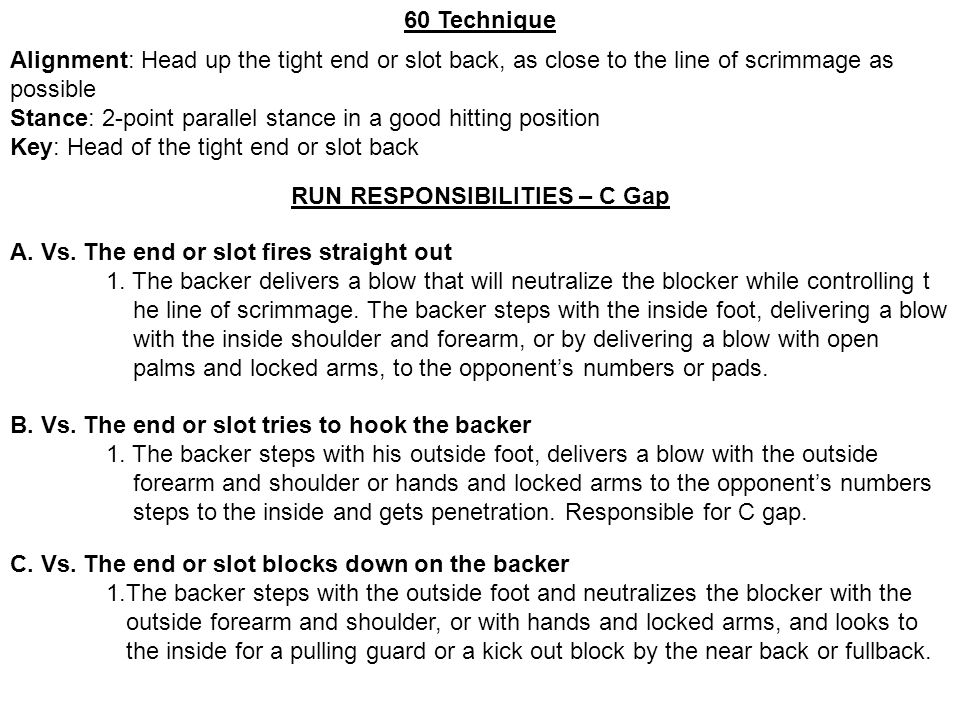 60 Technique Alignment: Head up the tight end or slot back, as close to the line of scrimmage as possible Stance: 2-point parallel stance in a good hi