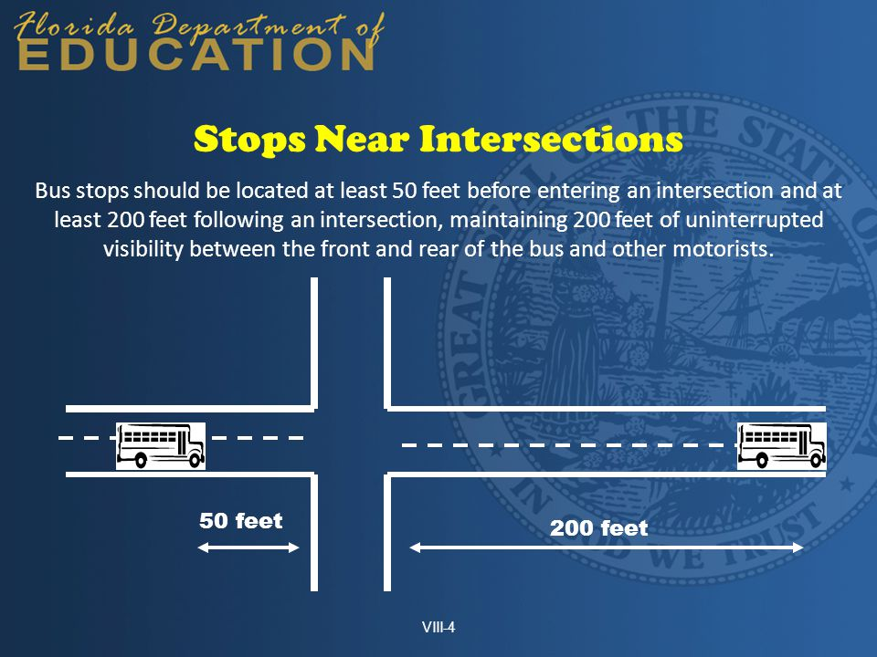 Bus stops should be located at least 50 feet before entering an intersection and at least 200 feet following an intersection, maintaining 200 feet of