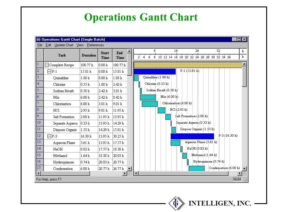 Operations Gantt Chart INTELLIGEN, INC.