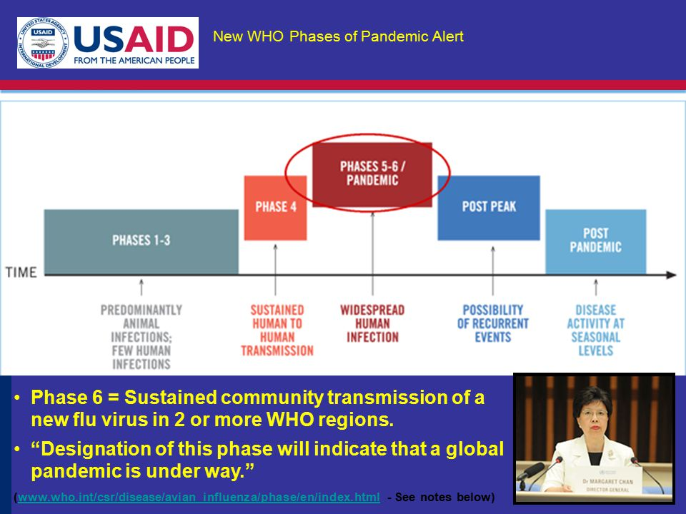 New WHO Phases of Pandemic Alert Phase 6 = Sustained community transmission of a new flu virus in 2 or more WHO regions.