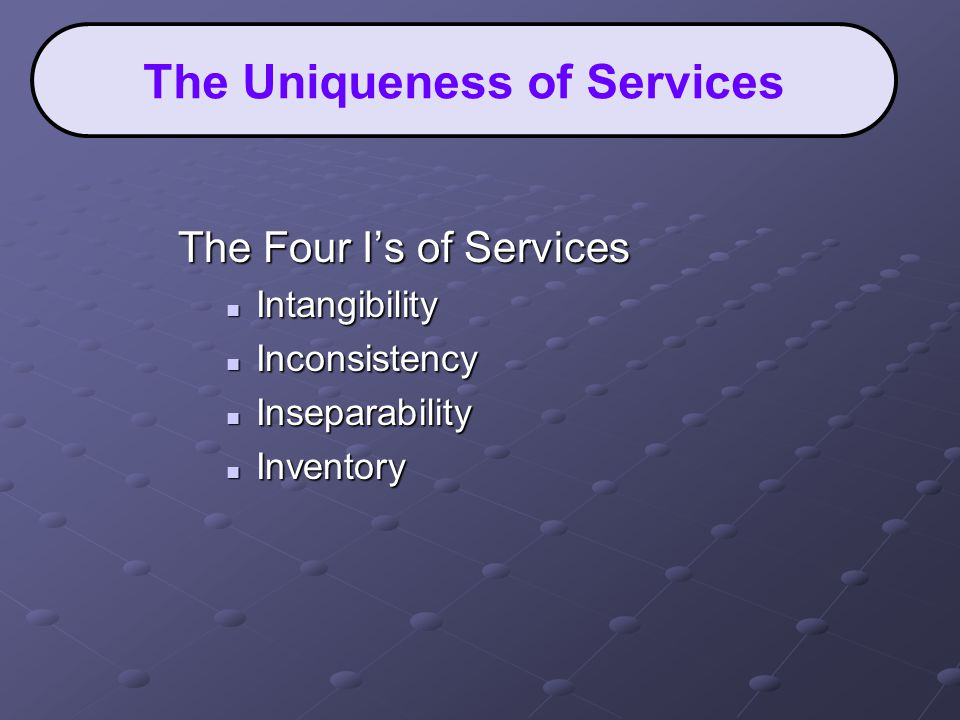 The Four I's of Services Intangibility Intangibility Inconsistency Inconsistency Inseparability Inseparability Inventory Inventory The Uniqueness of Services