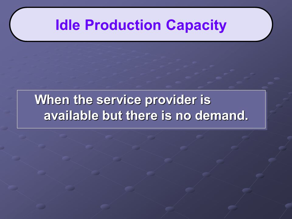 When the service provider is available but there is no demand. Idle Production Capacity