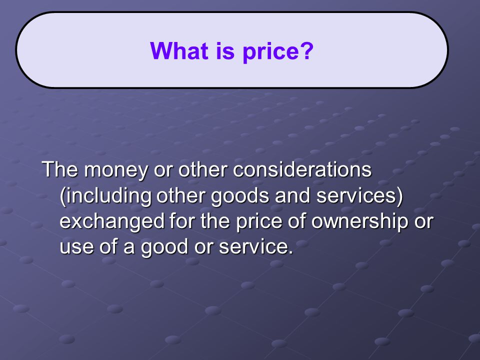  Numerous factors to consider when trying to set the optimal price.