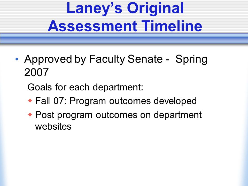 Laney's Original Assessment Timeline Approved by Faculty Senate - Spring 2007 Goals for each department:  Fall 07: Program outcomes developed  Post program outcomes on department websites