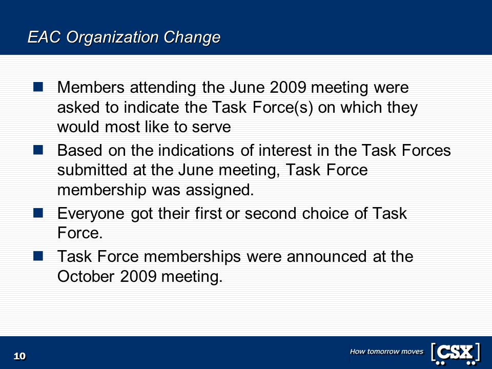 10 EAC Organization Change Members attending the June 2009 meeting were asked to indicate the Task Force(s) on which they would most like to serve Based on the indications of interest in the Task Forces submitted at the June meeting, Task Force membership was assigned.