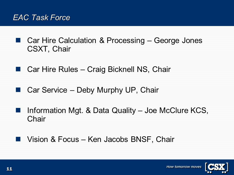 11 EAC Task Force Car Hire Calculation & Processing – George Jones CSXT, Chair Car Hire Rules – Craig Bicknell NS, Chair Car Service – Deby Murphy UP, Chair Information Mgt.