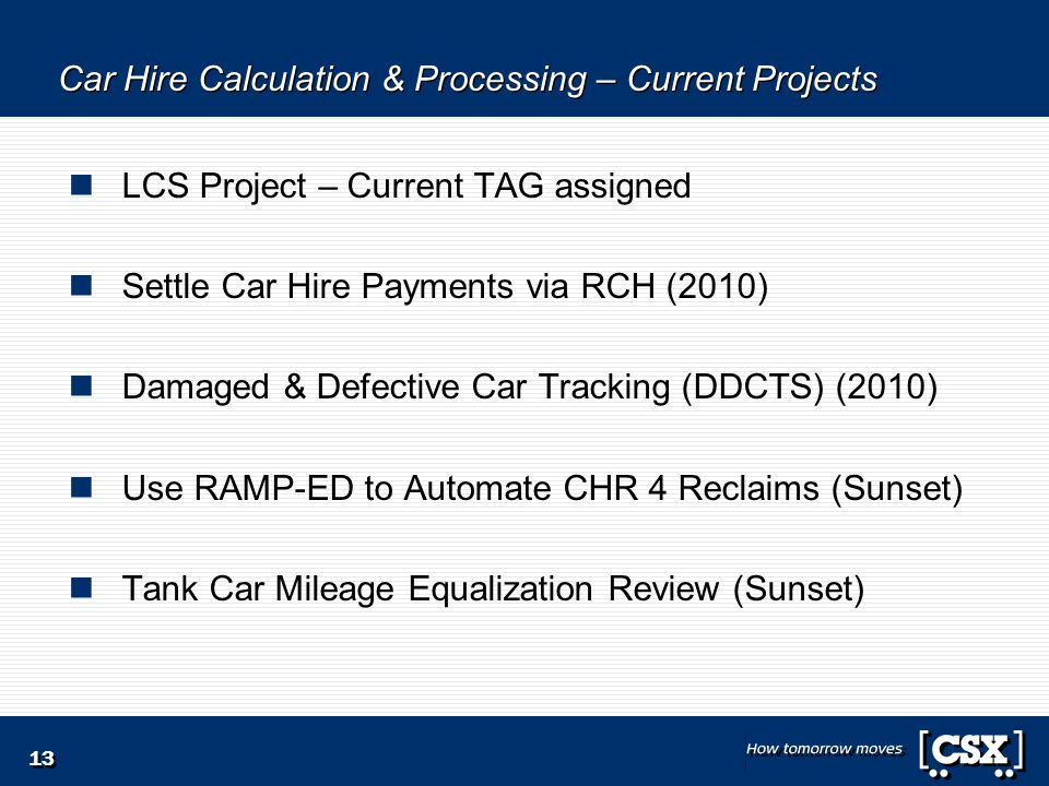 13 Car Hire Calculation & Processing – Current Projects LCS Project – Current TAG assigned Settle Car Hire Payments via RCH (2010) Damaged & Defective Car Tracking (DDCTS) (2010) Use RAMP-ED to Automate CHR 4 Reclaims (Sunset) Tank Car Mileage Equalization Review (Sunset)