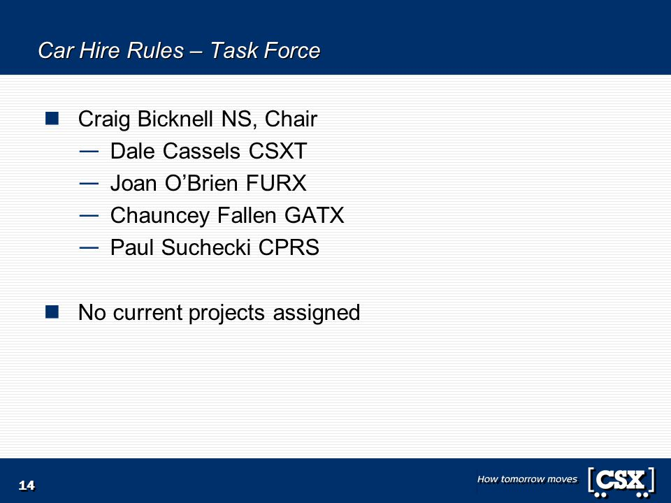 14 Car Hire Rules – Task Force Craig Bicknell NS, Chair — Dale Cassels CSXT — Joan O'Brien FURX — Chauncey Fallen GATX — Paul Suchecki CPRS No current projects assigned