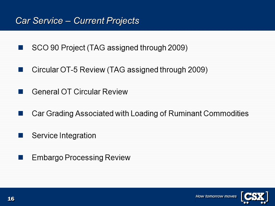 16 Car Service – Current Projects SCO 90 Project (TAG assigned through 2009) Circular OT-5 Review (TAG assigned through 2009) General OT Circular Review Car Grading Associated with Loading of Ruminant Commodities Service Integration Embargo Processing Review
