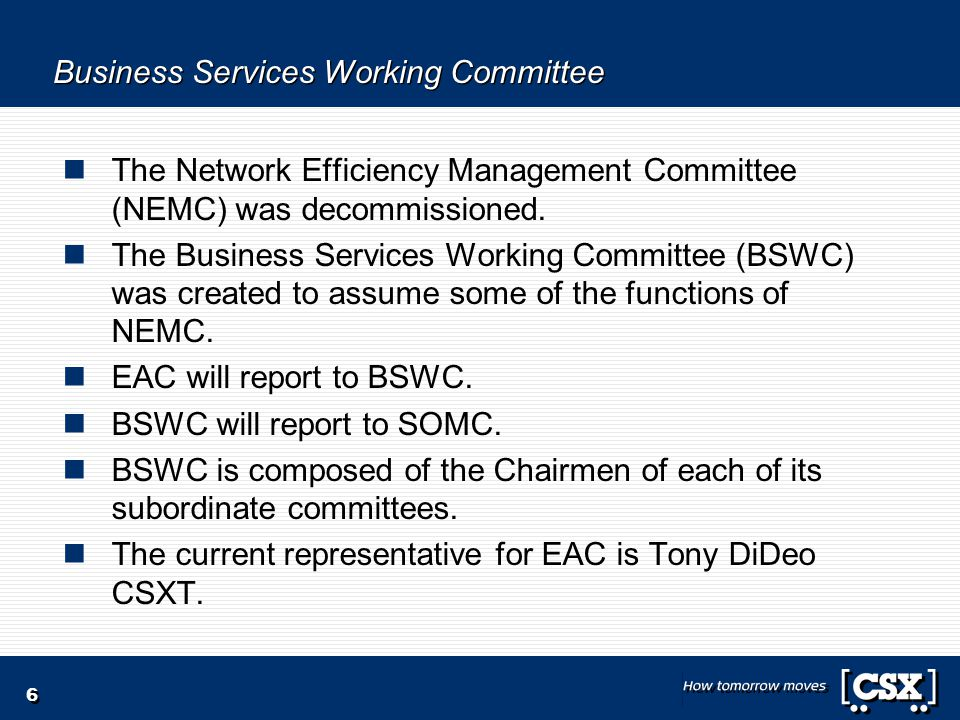 6 Business Services Working Committee The Network Efficiency Management Committee (NEMC) was decommissioned.