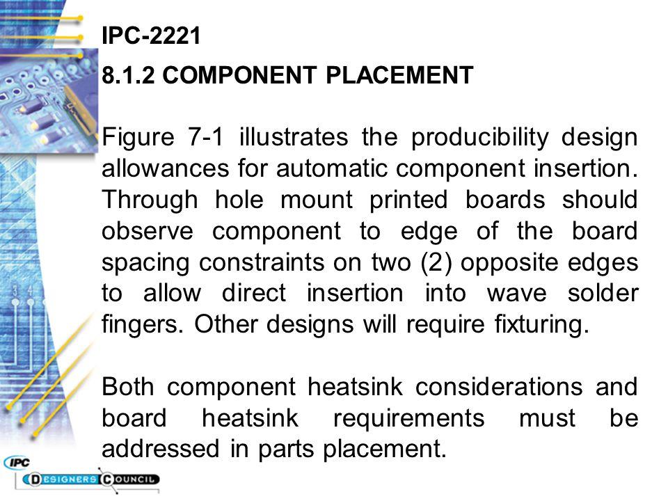 IPC-2221 8.1.2 COMPONENT PLACEMENT Figure 7-1 illustrates the producibility design allowances for automatic component insertion. Through hole mount pr