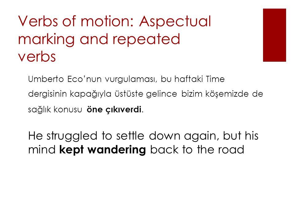 Verbs of motion: Aspectual marking and repeated verbs Umberto Eco'nun vurgulaması, bu haftaki Time dergisinin kapağıyla üstüste gelince bizim köşemizde de sağlık konusu öne çıkıverdi.